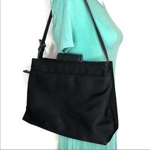 Coach Black Nylon Leather Shoulder Bag
